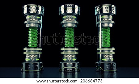 3 tubes with dangerous virus / Futuristic highly protected bottles with dangerous liquid - stock photo