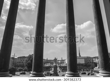 Turin, Italy, Europe - JUNE 28, 2015 . Turin seen through the columns from The Gran Madre di Dio Church . - stock photo
