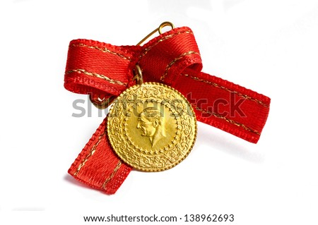 1/4 Turkish Gold coin necklace. (Back) Isolated on white background - stock photo