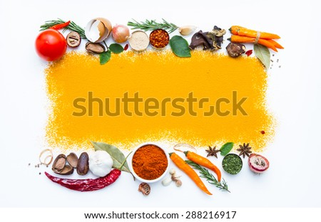 (Turmeric) Spices and herbs on white background, Top view indian spices and herbs difference ware on white background with copy space for design spices, herbs or foods content. - stock photo