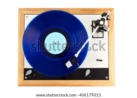 turntable in action Stereo Turntable Vinyl Record Player Analog Retro Vintage Top View - stock photo