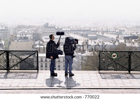 TV Crew in Paris - stock photo