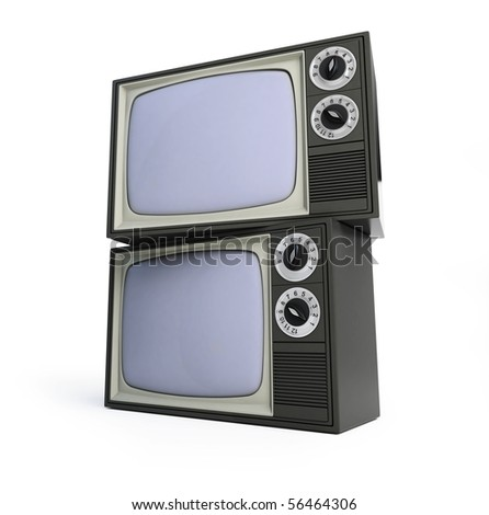 two old tv isolated on a white background - stock photo