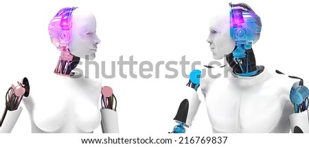 Two robots  - stock photo