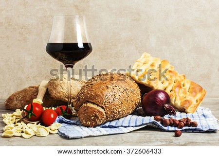 typical food from various  italian area - stock photo