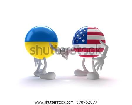 Ukraine and the United States Greeting - stock photo