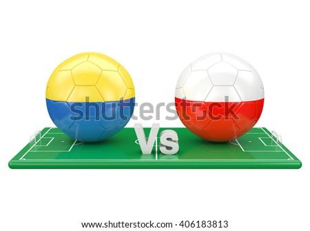 Ukraine / Poland soccer game over soccer field 3d illustration - stock photo