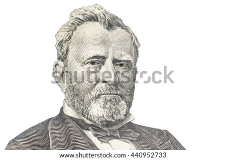 """Ulysses S. Grant"" face on US fifty or 50 dollars bill macro, united states money closeup on white background - stock photo"
