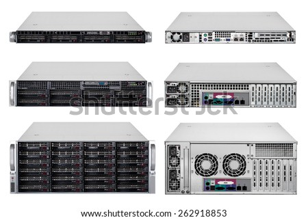 1 unit, 2 unit and 3 unit server - stock photo