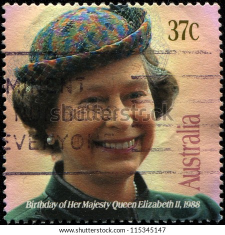 UNITED KINGDOM - CIRCA 1988: A stamp printed in the Great Britain shows Her Majesty the Queen Elizabeth II,  birthday, circa 1988 - stock photo