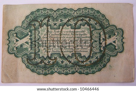1863 united states 10 cent bill - back - stock photo