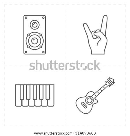 4 universal flat music icons - stock photo