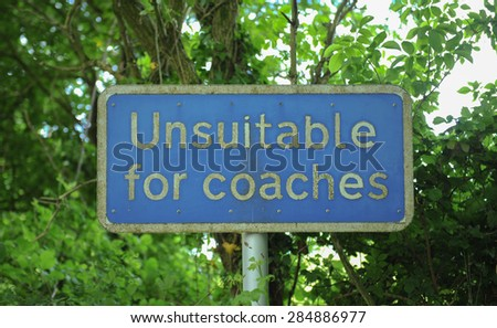 """""""Unsuitable for Coaches"""" Sign, in Devon, England, UK - stock photo"""