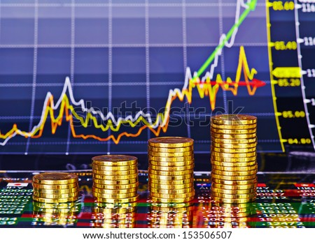 Uptrend stacks of golden coins. Financial chart as background. Selective focus. - stock photo