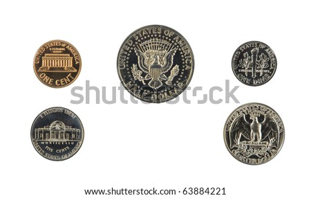 1971 US coin proof set back side isolated on white - stock photo