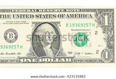 1  US dollar money isolated on white. - stock photo
