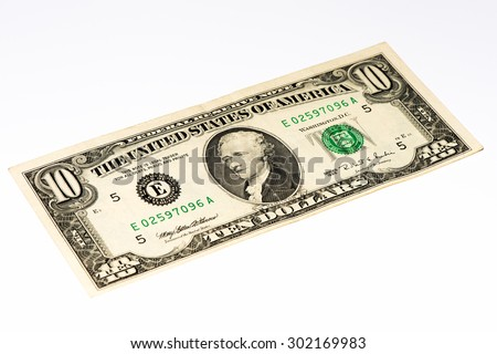 10 US dollars bank note made in 1995 - stock photo