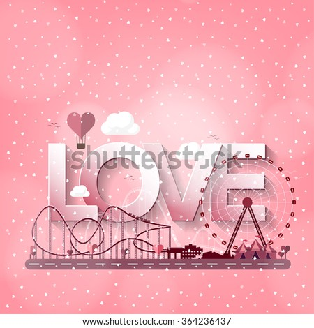 Valentines day. Love. 14 february. Park. Ferris wheel. Roller coaster. - stock photo