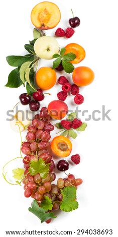 Variation fresh fruits and berries isolated on white, top view - stock photo