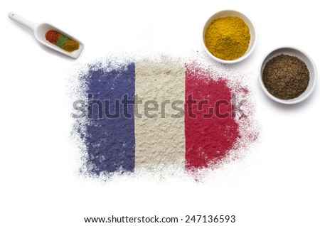 Various spices forming the flag of French Guiana.(series) - stock photo