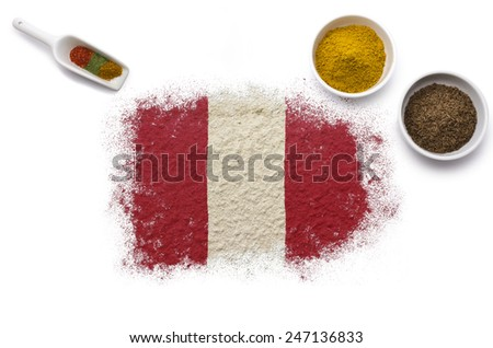 Various spices forming the flag of Peru.(series) - stock photo