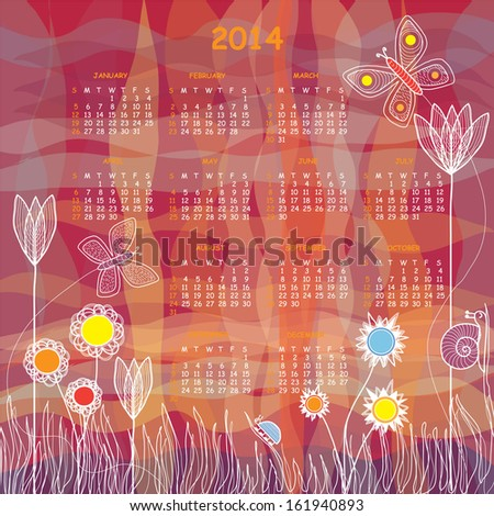 Vector Calendar - Colorful Meadow with Tulips and Other Flowers,Two Butterflies, a Snail and a Beetle - stock photo
