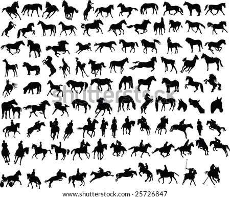 100 vector silhouettes of horses and riders - stock photo