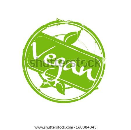 """Vegan"" green round rubber stamp - stock photo"