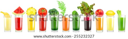 vegetable and fruit juice - stock photo