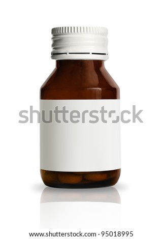 Vial of pills with blank label, isolated on white background - stock photo