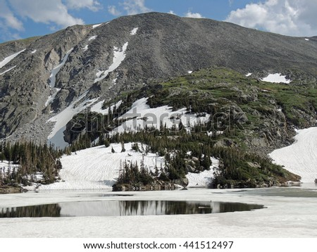 view from   lake isabelle, indian peaks wilderness area, colorado      - stock photo
