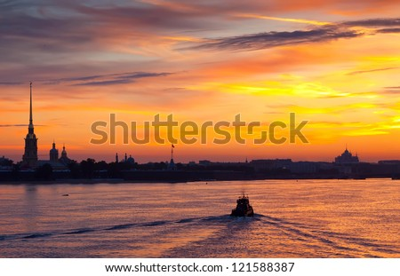 view of Neva river in dawn. Saint Petersburg, Russia - stock photo