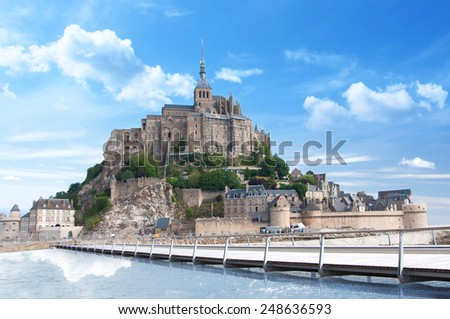 2015 view of the completely new bridge of Mont-Saint-Michel in France ! Exclusivity - stock photo