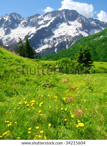 view of the mountains of Passo Tonale-Italy - stock photo