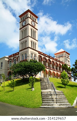View of the Sessions House in Hamilton, Bermuda. - stock photo