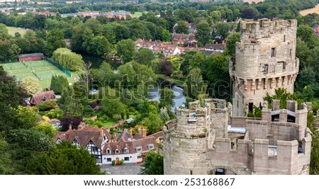 View of Warwick castle  - stock photo