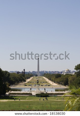 View on the Reflection Pool, Washington Mall, Washington Monument, Lincoln Memorial, Smithsonian Castle seen from Capitol Hill - stock photo
