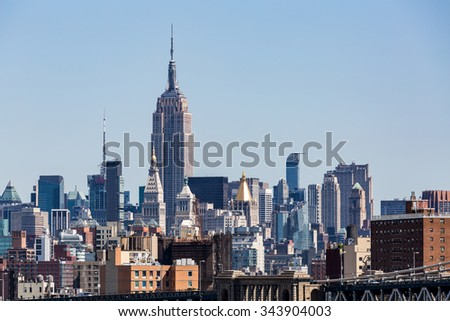 ?View to the Midtown Skyline of New York in summer 2015. - stock photo