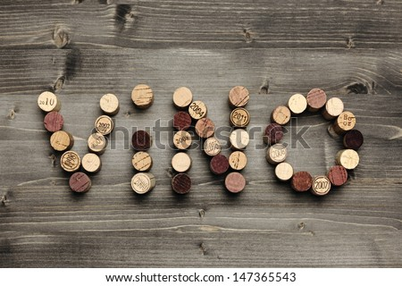 """VINO"" written with corks - stock photo"