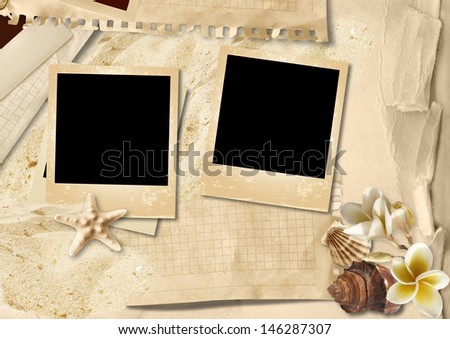Vintage background with photo-frame and seashells - stock photo