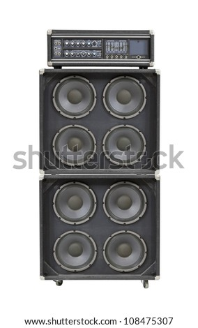 Vintage bass stack amplifier isolated on white. - stock photo