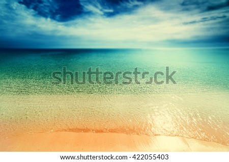 Vintage Beach background / Retro Untouched tropical beach card  / Beach and tropical sea with bright sun / Turquoise sea / Tropical paradise - stock photo