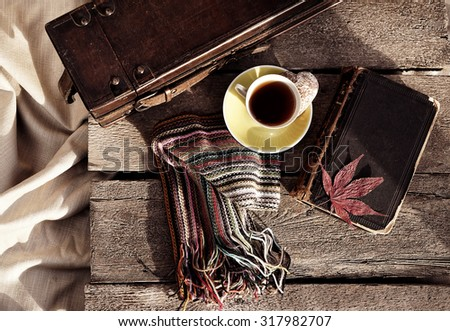 Vintage composition of retro objects and cup of tea                       - stock photo