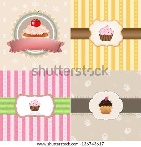 4 Vintage Cupcake Cards - stock photo