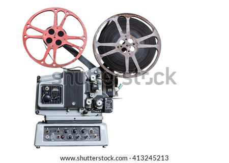 Vintage movie projector on white background with clipping path - stock photo