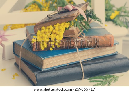 vintage old books  with french mimosa flowers, retro toned - stock photo