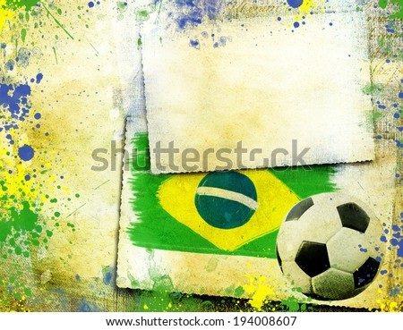 Vintage photo of soccer ball and Brazil flag - World cup concept  - stock photo