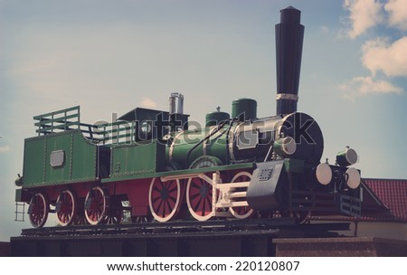 vintage steam engine train  - stock photo