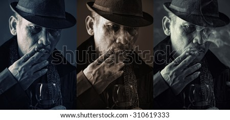 3 vintage style portraits of an old mafia boss smoking cigarette with cold expression - stock photo