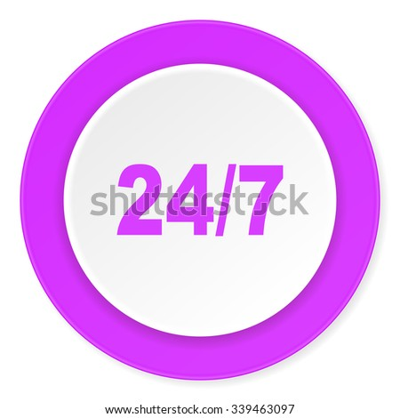 24/7 violet pink circle 3d modern flat design icon on white background  - stock photo